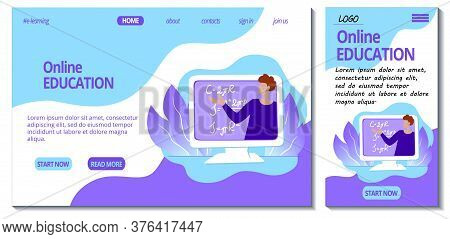 Web Page And App Mobile Design Template For E-learning Site. Home Online Education Concept. Teacher