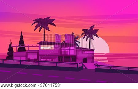 Sea Shore Sunset Beach Luxury Cottage Villa House For Rest With Palms And Plants, Sea, Ocean. Modern