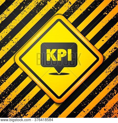 Black Kpi - Key Performance Indicator Icon Isolated On Yellow Background. Warning Sign. Vector