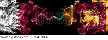 Qatar Vs Sri Lanka, Sri Lankan Smoky Mystic Flags Placed Side By Side. Thick Colored Silky Abstract