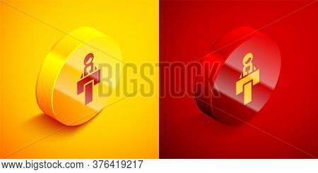 Isometric Stage Stand Or Debate Podium Rostrum Icon Isolated On Orange And Red Background. Conferenc
