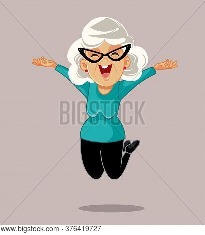 Happy Senior Woman Jumping With Excitement Vector Cartoon