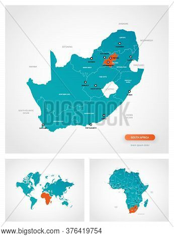 Editable Template Of Map Of South Africa With Marks. South Africa On World Map And On Africa Map.