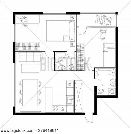 Plan Apartment. Two Bedroom Layout Floor Plan. Studio, Condominium. Interior Design Elements Kitchen