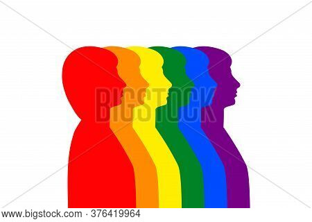 Women And Men Silhouette Profile In Colorful Rainbow Lgbt Pride Colors, Stock Vector Illustration Cl