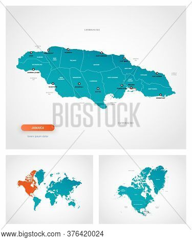 Editable Template Of Map Of Jamaica With Marks. Jamaica On World Map And On North America Map.