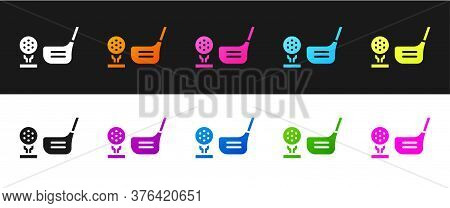 Set Golf Flag And Golf Ball On Tee Icon Isolated On Black And White Background. Golf Equipment Or Ac