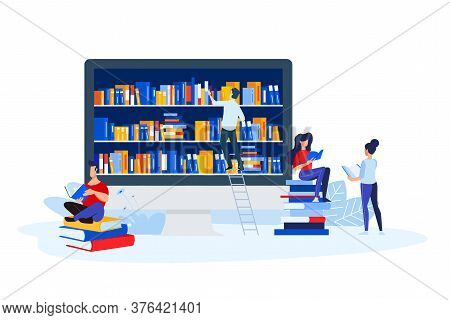 Library, Book Store And E-book. Vector Illustrations Of A Man And A Woman Read Books In Front Of The