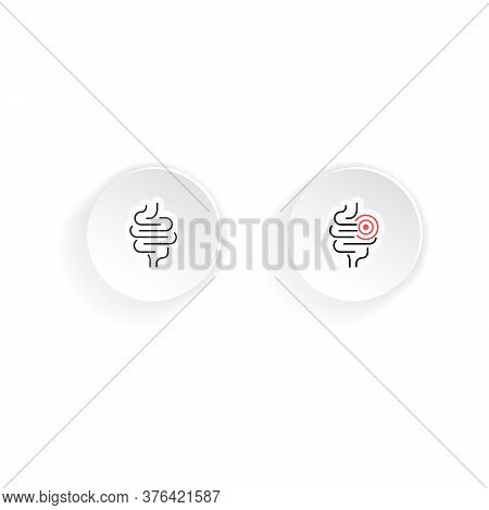 Intestinal Tract Icon, Healthy And Sick. Vector On Isolated White Background. Eps 10