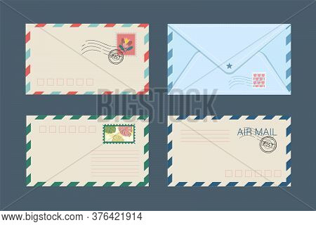 Vector Set Of Isolated Postal Envelopes And Postcards With Postage Stamps. The Concept Of Sending An
