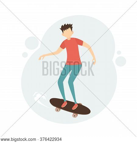 Young Man On Skateboard. Boy Skateboarding. Sport And Physical Activity Concept. Teen Boy Riding Ska