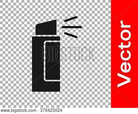 Black Pepper Spray Icon Isolated On Transparent Background. Oc Gas. Capsicum Self Defense Aerosol. V