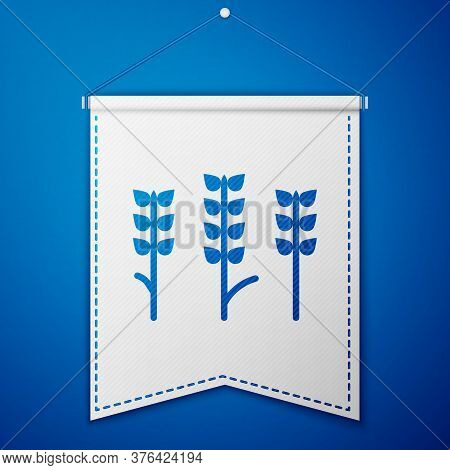 Blue Cereals Set With Rice, Wheat, Corn, Oats, Rye, Barley Icon Isolated On Blue Background. Ears Of