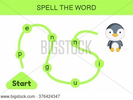 Maze For Kids. Spelling Word Game Template. Learn To Read Word Penguin, Printable Worksheet. Activit