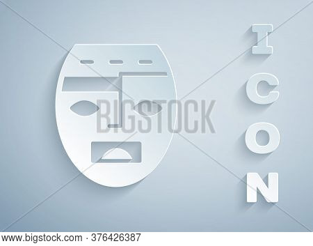 Paper Cut Mexican Mayan Or Aztec Mask Icon Isolated On Grey Background. Paper Art Style. Vector