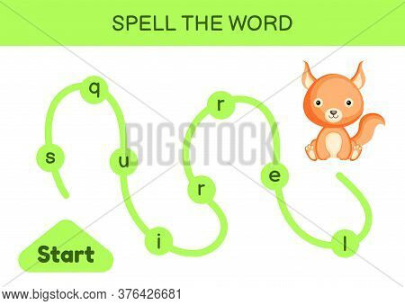 Maze For Kids. Spelling Word Game Template. Learn To Read Word Squirrel, Printable Worksheet. Activi