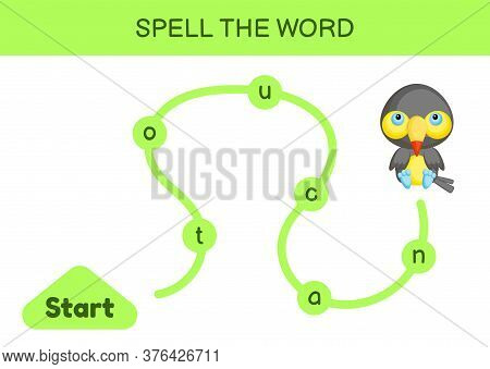 Maze For Kids. Spelling Word Game Template. Learn To Read Word Toucan, Printable Worksheet. Activity