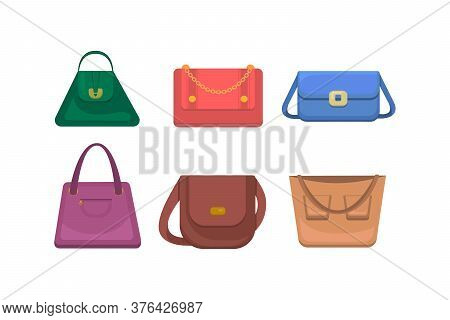 Woman Bag Icons Set. Different Fashion Handbags Isolated On White Background. Womens Handbag Collect