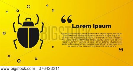 Black Mite Icon Isolated On Yellow Background. Vector