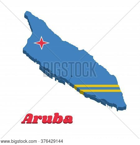 3d Map Outline And Flag Of Aruba, A Field Of Light Blue And Two Narrow Parallel Horizontal Yellow St
