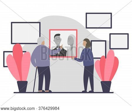 Elderly Man And Young Woman Looking At An Old Wedding Photo On The Wall. Flat Vector Illustration Of