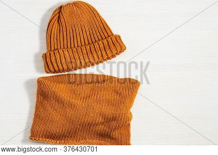 Handmade Knitted Clothing, Woolen Hat And Soft Snood Ginger Colour. Warm Things For Winter Season. T