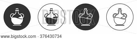 Black Bottle Of Olive Oil Icon Isolated On White Background. Jug With Olive Oil Icon. Circle Button.
