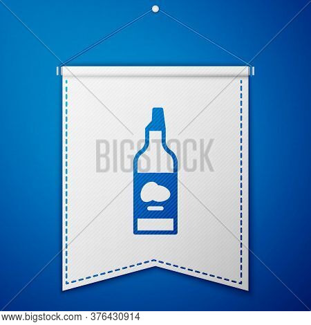 Blue Bottle Of Olive Oil Icon Isolated On Blue Background. Jug With Olive Oil Icon. White Pennant Te