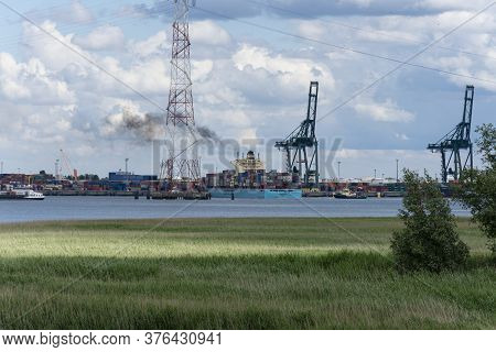 Doel, Belgium, June 16, 2019, The Large Cargo Ship Seago Line Is Anchored At The Port Of Antwerp