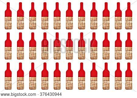 Pattern Bottle Of Wine Is Filled With Wine Corks. Concept For Wine Bar, Restaurant. Creative Red Win
