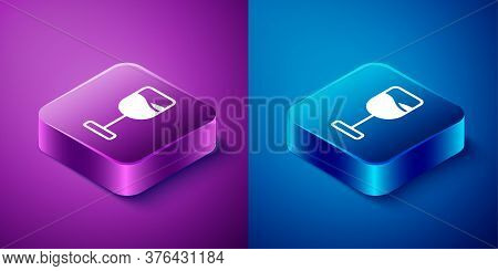 Isometric Wine Glass Icon Isolated On Blue And Purple Background. Wineglass Icon. Goblet Symbol. Gla