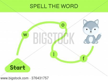 Maze For Kids. Spelling Word Game Template. Learn To Read Word Wolf, Printable Worksheet. Activity P