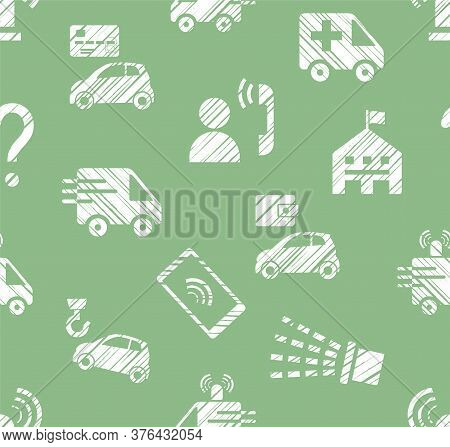 Emergency Service, Seamless Pattern, Monochrome, Hatching, Green, Vector. Emergency Medical And Fire