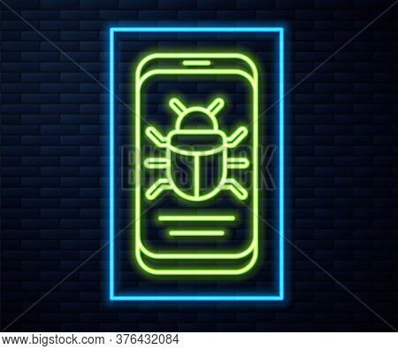 Glowing Neon Line System Bug On Mobile Icon Isolated On Brick Wall Background. Code Bug Concept. Bug