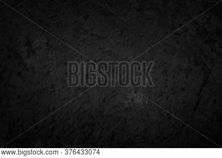Art Black Concrete Stone Texture For Background In Black. Abstract Color Dry Scratched Surface Wall