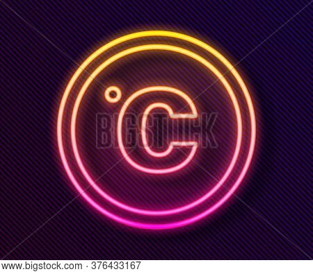 Glowing Neon Line Celsius Icon Isolated On Black Background. Vector