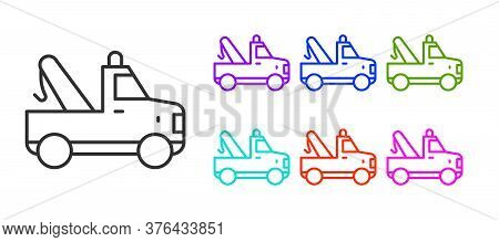 Black Line Tow Truck Icon Isolated On White Background. Set Icons Colorful. Vector