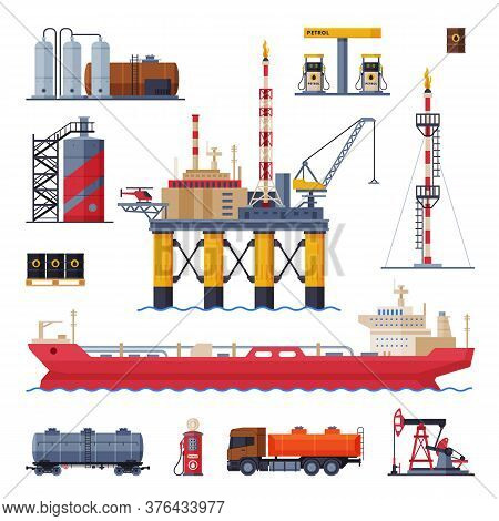 Oil And Gas Production, Processing And Transportation Set, Gasoline And Petroleum Industry Flat Styl