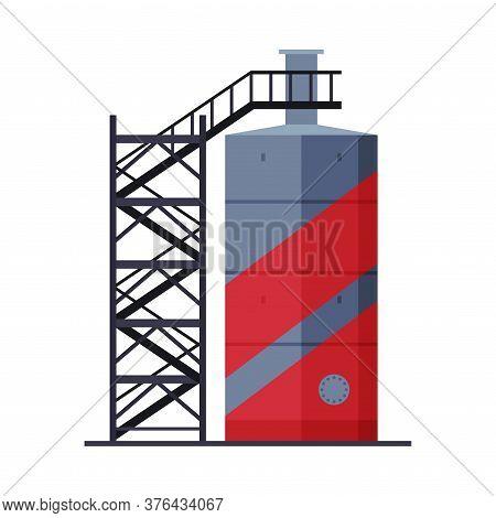 Crude Oil Tank With Ladder, Benzine, Fuel Cylinder, Storage Reservoir, Gasoline And Petroleum Produc