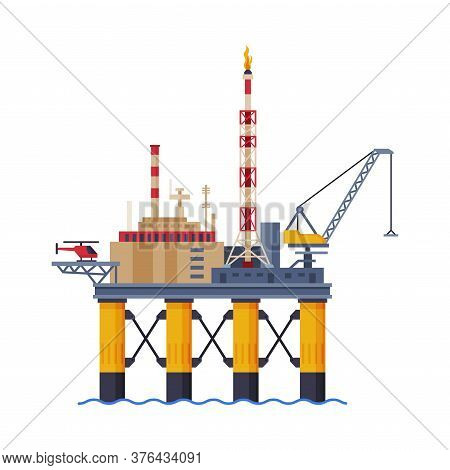 Oil Platform In The Sea, Gasoline And Petroleum Production Industry Flat Style Vector Illustration O