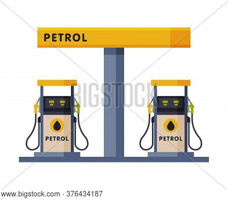 Gas Petroleum Refill Station, Gasoline And Petroleum Industry Flat Style Vector Illustration On Whit