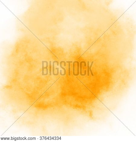 Soft Spot Watercolor Paint Yellow Orange Hand Drawn. Beautiful Abstract Watercolor Background, Blot