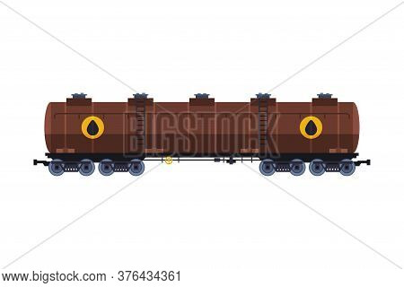 Large Oil Rail Tank, Gasoline And Petroleum Production And Transportation Industry Flat Style Vector