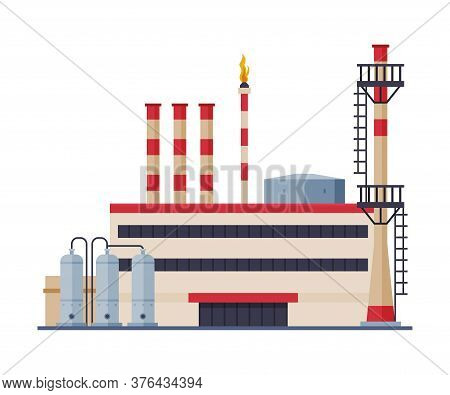 Oil Refinery Plant, Gasoline And Petroleum Production Industry Flat Style Vector Illustration On Whi