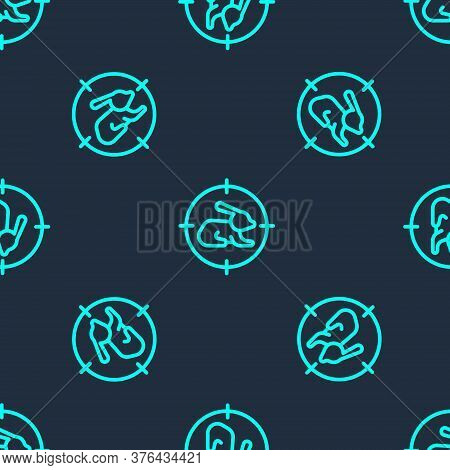 Green Line Hunt On Rabbit With Crosshairs Icon Isolated Seamless Pattern On Blue Background. Hunting