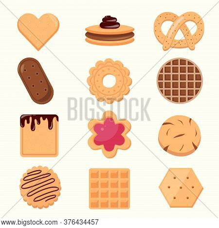 Cookie And Biscuit Icon Collection Isolated On White Background. Delicious Cookies Cartoon Vector Il