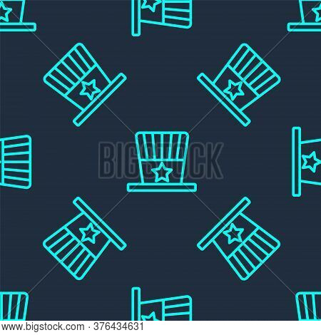 Green Line Patriotic American Top Hat Icon Isolated Seamless Pattern On Blue Background. Uncle Sam H