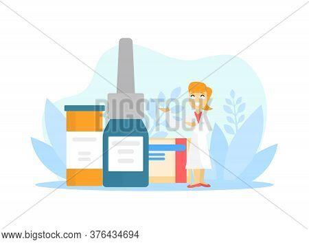 Tiny Female Pharmacist Doctor With Huge Medications Bottles Vector Illustration