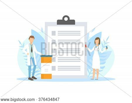 Tiny Pharmacists Doctors Standing Next Huge Clipboard With Prescriptions Vector Illustration