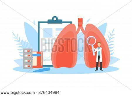 Tiny Doctor Examining Huge Human Lungs With Magnifier, Obstructive Pulmonary Disease, Doctor Doing M